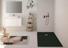 Zenon Solid Surface Douchebak Slate Focus Black 90x120 cm - Doucheplaat Polymeer composiet - Douchevloer Zwart