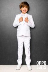 Witte OppoSuits Officiële Effen Gekleurde Pakken voor Jongens van Hoge Kwaliteit - White Knight - Kostuum bevat Pantalon, Jasje en Stropdas! Maat 98/104