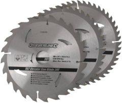 Silverline Tct Cirkelzaagblad, 24, 40, 48 Tanden, 3 Stuks (200 X 30 - 25, 18 En 16 mm Ringen)
