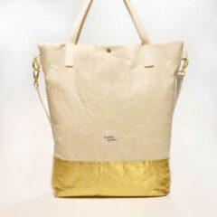 Kaliber Fashion Shopperbag Pinatex natural gold Handtas Schoudertas Ananasleer Goud