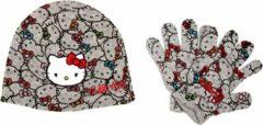 """Hello Kitty - Winterset - Muts & Handschoenen - Model """"Multiple Kitties!"""" - Grijs - 54 cm"""