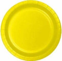 Stemen Kartonnen Bordjes geel 23cm 20st - Wegwerp borden - Feest/verjaardag/BBQ borden