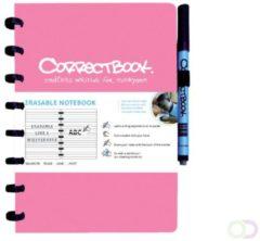 Correctbook A5 Original: uitwisbaar / herbruikbaar notitieboek, gelijnd, roze