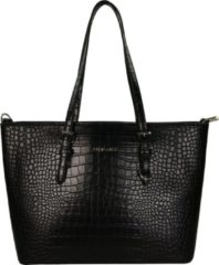 Zwarte Flora & Co Shoulder Bag Shopper Croco Black