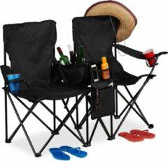 Relaxdays dubbele campingstoel - strandstoel - klapstoel - kampeerstoel - bekerhouder zwart
