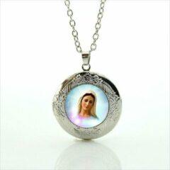 Zilveren Van Santen Fashion Charm Jewelry Ketting met hanger Maria Medjugorge (medaillon)
