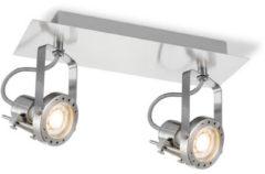Zilveren Home sweet home LED opbouwspot Robo 2 lichts ↔ 32 cm - mat staal