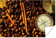PosterMonkey Kompasroos tussen koffiebonen en kaneelstokjes poster 60x40 cm - Foto print op Poster (wanddecoratie woonkamer / slaapkamer)