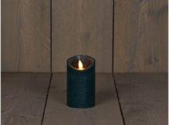 Anna's Collection B.o.t. kaars wax rustiek bewegende vlam 7.5x12.5cm antiek groen 3xaaa/timer