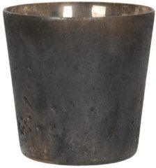 Waxinelichthouder - Ø 9*10 cm - goudkleurig - glas - rond - Clayre & Eef - 6GL2984