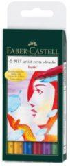 Faber Castell Tekenstift Faber-Castell Pitt Artist Pen 6-delig etui Basic