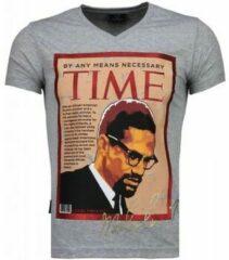 Grijze T-shirt Korte Mouw Local Fanatic Malcolm X - T-shirt