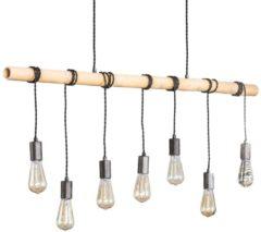 Zilveren Zaloni Hanglamp Bamboe 7Lampen van 120 cm breed
