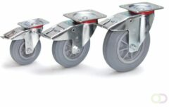Fetra Zwenkwiel met rem 200 x 50 mm, Massief streeploos rubber wiel