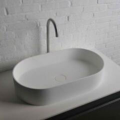 Ideavit Solidthin opbouw wastafel 60x35x12.5cm ovaal 0 kraangaten 1 wasbak Solid surface wit 281616