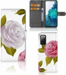 Roze Wallet Book Case Samsung Galaxy S20FE Telefoon Hoesje Cadeau voor haar Roses