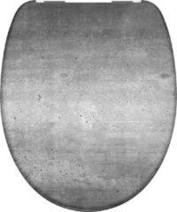 Grijze Schütte SCHÜTTE WC-Bril 82155 INDUSTRIAL GREY - Duroplast - Soft Close - Verchroomde Scharnieren - Decor - 1-zijdige Print