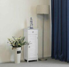 VASAGLE badkamermeubel, badkamermeubel, zijkast, nachtkastje met lade en lamellaire deur, badkamer, gang, slaapkamer, 32 x 87 x 30 cm, wit BBC43WT