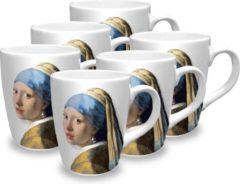 Witte Nijntje Vermeer Meisje met de Parel mokken pakket (6 mokken)