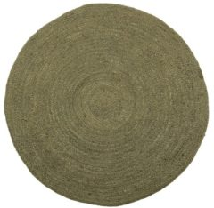 WOOOD Ross Vloerkleed - Jute - Army Groen - 1x150x150