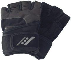Zwarte Rucanor fitness handschoenen Profi IV unisex zwart maat 7/8