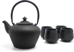 Zwarte Bredemeijer Giftset Chengdu Theepot met filter met 4 porseleinen mokken in bamboe doos