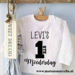 Witte Merkloos / Sans marque Tekst eerste moederdag liefste mama cadeau Tekst eerste moederdag liefste mama cadeau mijn naam 62 Baby T-shirt Maat 56