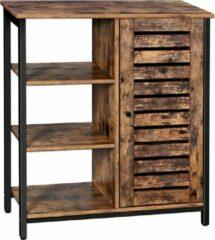 Zwarte VASAGLE houten badkamerkast 70cm x 30cm x 81cm | Vintage design kast met 3 planken en een opslagruimte | Ook handig voor in de keuken, hal of woonkamer