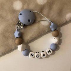 Kjoett Speenkoord met Naam - baby blauw