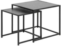 Grijze MOOS Meubelen-Online Honkytonk Bijzettafel set twee tafels zwart essen - 50x50x45cm - Industrieel