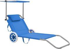 VidaXL Ligbed met luifel en wieltjes inklapbaar staal blauw VDXL 44322