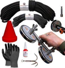 Brute Strength Vismagneet Set - 1200 kg trekkracht (2x600kg) - Touw - Dreghaak - Handschoenen - Connector - Prikstok adapter - Schroefdraadborgmiddel - Beschermkap - voor Magneetvissen