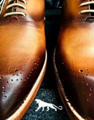 Pantera Pelle Leather Shoes Volledig Lederen Herenschoen, Cognac met donkerbruin, Maat 43
