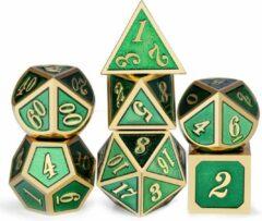 Paarse Dungeon Dice Premium Metalen Groen - Gouden Polydice Dobbelstenen Set Van 7 Stuks In Metalen Doos | Voor D&D En Andere Rollenspellen | High End Metalen Dobbelstenen Set Voor Dungeons And Dragons