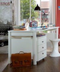 Schreibtisch mit Rollcontainer alpinweiss Wimex Filou