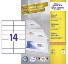 Avery-Zweckform 3477 Etiketten 105 x 41 mm Papier Wit 1400 stuks Permanent Universele etiketten Inkt, Laser, Kopie