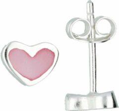 Lilly oorknopjes hart - zilver - roze