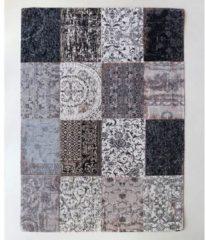 Louis de Poortere - 8101 Vintage Patchwork Black & White Vloerkleed - 140x200 cm - Rechthoekig - Laagpolig, Patchwork Tapijt - Landelijk, Oosters - Meerkleurig