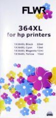 Zwarte FLWR 364XL Multipack zwart en kleur / Geschikt voor HP printers (Compatible)