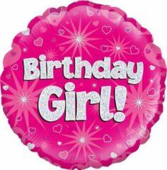 Oaktree UK Folieballon Sparkling Fizz Birthday Girl Roze