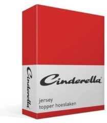 Cinderella jersey topper hoeslaken - 100% gebreide katoen - Lits-jumeaux (160x200/210 cm) - Rood, Red