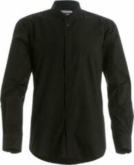 Kustom Kit Heren Mandarijn Kraag Aansluiting Lange Mouwen Zakelijke Overhemd (Zwart)