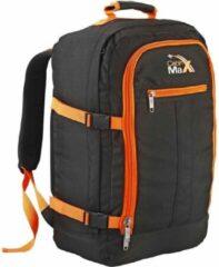Cabin Max CabinMax Metz – Handbagage - Rugzak 44l– Schooltas - 55x40x20cm – Lichtgewicht - Zwart/Oranje (MZ BK/OE)