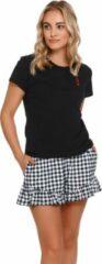 Doctor Nap Katoenen Pyjama Dames Volwassenen | Korte Mouw Korte Broek | Pyama Dames Volwassenen | Shortama Dames | Hartendame Zwart PM.4239 L
