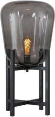 Zwarte ETH Tafellamp Benn - H70 Cm - Ø33 Cm - Rookglas En Zwart Metaal