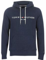 Donkerblauwe Tommy Hilfiger Tommy Logo Hoody Sporttrui - Maat XL - Mannen - donker blauw
