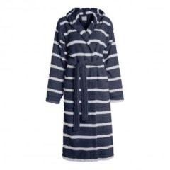 Blauwe Seahorse badstof badjas met capuchon marine/wit