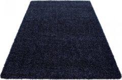 Marineblauwe Himalaya Basic Shaggy vloerkleed Donker Blauw Hoogpolig - 80x250 CM