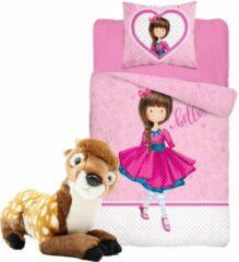 Blauwe B&B Slagharen Meisjes Dekbedovertrek - rode jurk - roze hart - 1persoons 140x200 - incl. pluche Hertje , Bambi , Ree knuffel