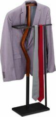 Zwarte Relaxdays dressboy staal - kledingstandaard - standaard voor kleding - hout - kledingrek